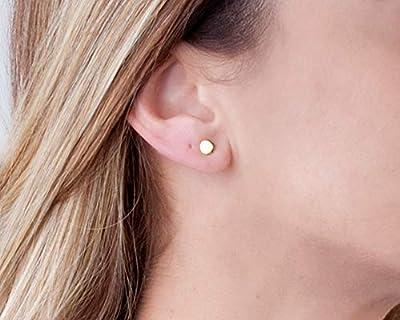 Gold Circle Stud Earrings - Designer Handmade 5mm Delicate Flat Disc Post Earrings