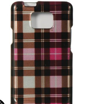 Durable Plastic Design Phone Protector Cover Case Hot Pink Checkers For Samsung Galaxy S II S2 AT&T