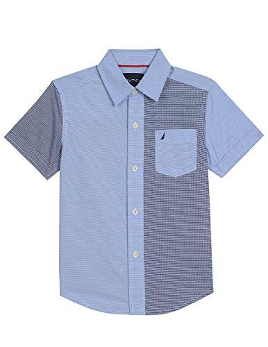 Nautica Big Boys' Short Sleeve Gingham Woven Shirt, Retro Blue, Small (Blue Gingham Mini)