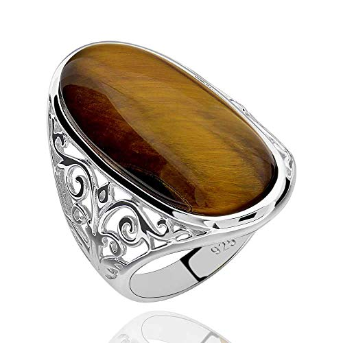 Oval Tigers Eye Cabochon Ring - GemsChest Sterling Silver Magnificent Oval Shaped Tiger Eye Solitaire Ring Sz 9
