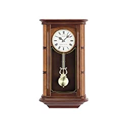 Seth Thomas Randolf Stained Brown Walnut Finish Wood Case with White Dial Rectangular Chiming Pendulum Wall Clock