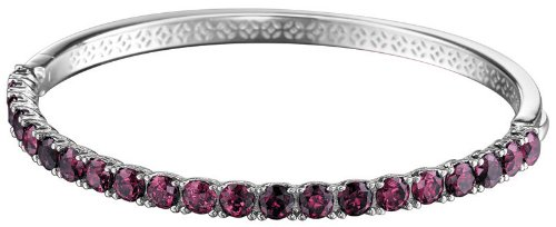 ESPRIT Women's Idya Berry Pink Bangle Rhodium Plated 925 Sterling Silver With Glass Zirconia by Esprit