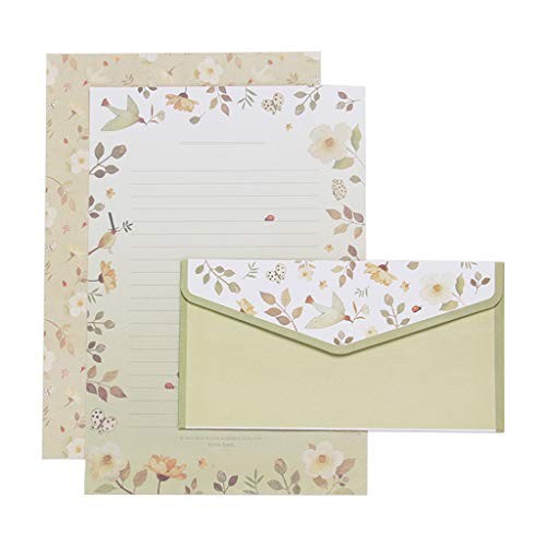 RingBuu Envelope Creative Beautiful Letter Paper Envelope Floral Cute Cartoon Set Letterhead Small Fresh Gifts