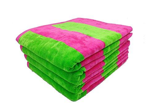 RobeSale Cabana Velour Terry Bath Towel, Lime/Fuchsia, Set of 4