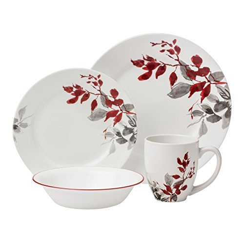 Corelle 16-Piece Boutique Set, Kyoto Leaves (Floral Ceramic Contemporary)