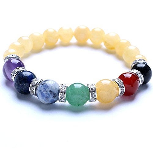 [TGS Gems Beautiful Energy Power Crystal Elastic Stretch Beaded Chakra Gemstone Reiki Healing Bracelet 7 Chakra Mixed Combination SL013A21] (Yellow Jade Beaded Bracelet)