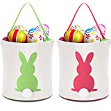Zhanmai 2 Pieces Easter Bunny Bags Canvas Egg Basket Rabbit Bag for Carrying Eggs Candies and Gifts (Pink, Green)
