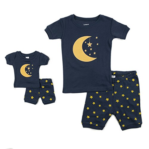 Leveret Shorts Matching Doll & Girl Moon & Stars 2 Piece Pajama Set 100% Cotton Size 4 Years -