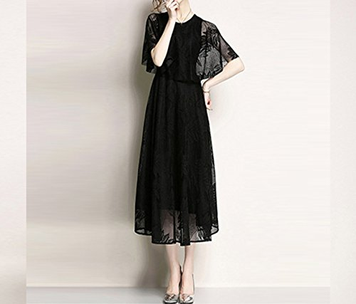 nero ed elegante in vestito Estate pizzo MOM 2018 elegante da colore di nuovo abito XL cappa donna nero CpawqOa
