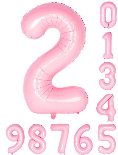 40 Inch Pink Numbers Birthday Party Balloon 0-9Mylar Decorations of Arabic Number -