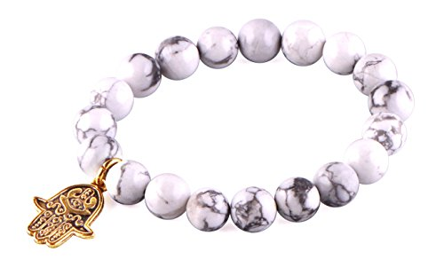 MBOX Brand Hand Made Premium White Turquoise Religious Blessing Fashion Bracelet Collection (Golden Hamsa Hand Evil Eye)