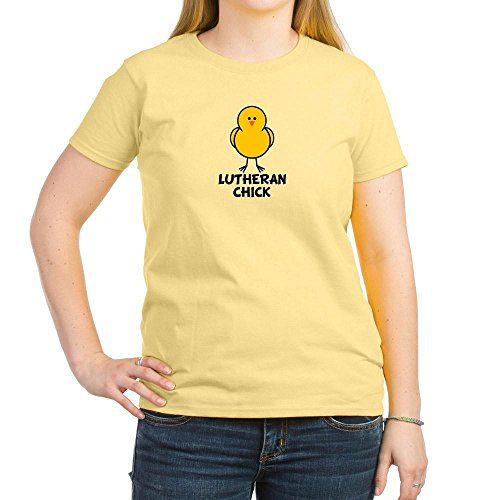 (CafePress - Lutheran Chick - Womens Cotton T-Shirt, Crew Neck, Comfortable & Soft Classic Tee Light Yellow )