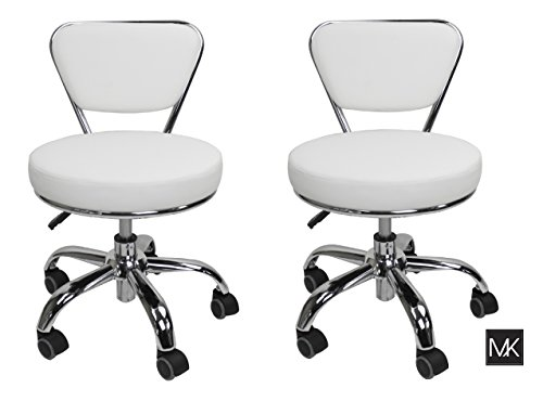 MAYAKOBA Set of 2 Salon Nail Pedicure Stool DAYTON WHITE Pneumatic Adjustable Height, Rolling Salon Furniture & Equipment