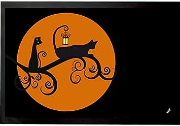 1art1® Gatos - Gatos Negros En La Noche De Luna Llena Felpudo Alfombra (60 x 40cm): Amazon.es: Hogar