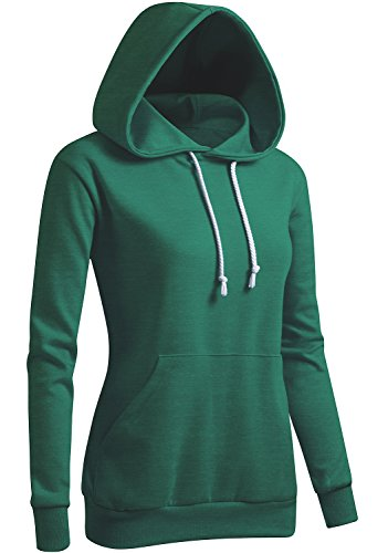 CLOVERY Women's Casual Basic Short Sleeve Hoodie Green XXX-Large (fits Like US ()