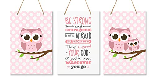 """LifeSong Milestones Be Strong and Courgeous Joshua 1:9 3pc Owl Wall Decor Decorations Signs for Kids, Bedroom, Nursery, Baby's Boys and Girls Room Size 8"""" x 12"""" Proudly Made in -"""