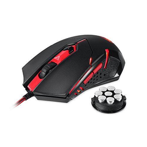 Redragon M601 Gaming Mouse, Ergonomic Wired MMO 6 Button Mouse, 3200 DPI, Red LED Backlit for Windows PC Gamer Black Wired Mouse