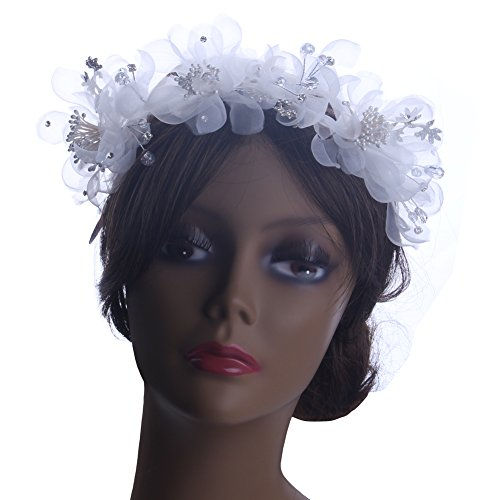 KimmyKu Bridal Flower Rhinestone Crystal Pearl Forehead band Headpieces Hair Vines Accessories Halos Tiara (Silk Rhinestone)