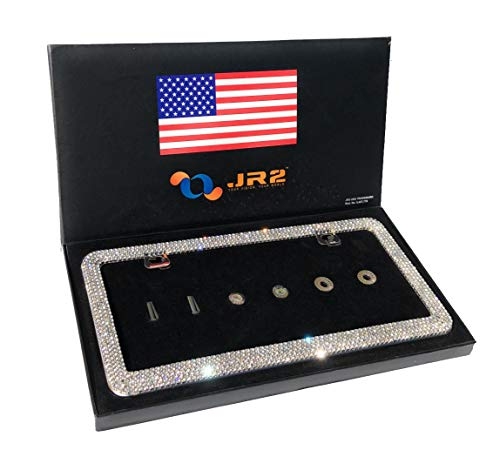 (JR2 Luxury Handmade Premium Rhinestone Metal License Plate Frame with Gift Box+Free Premium Diamond Anti-Theft Screw Cap (White))