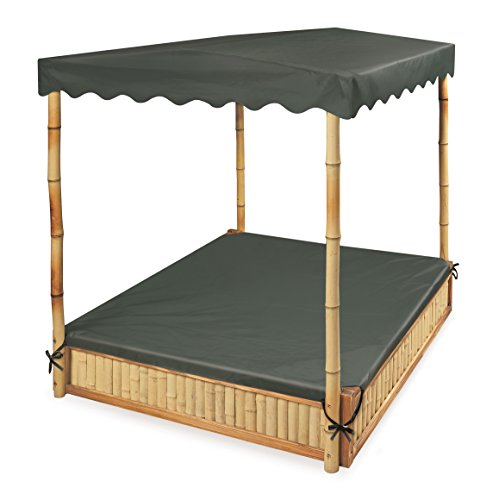 Badger Basket Tropical Fun Square Bamboo/Wood Outdoor Sandbox with Fabric Canopy/Cover and Seats, - Sandbox Corner Seats