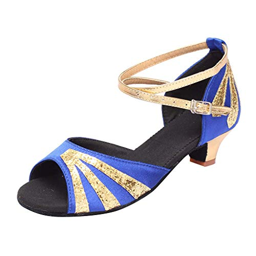 Capri Rumba Outfit - Caopixx Women Dancing Rumba Waltz Ballroom Latin Dance Shoes Low-Heeled Sandals Joker Leg Length Elegant Skinny Highten Increasing Cool High-Heeled Soft Comfortable Blue US:5.5 Shoes