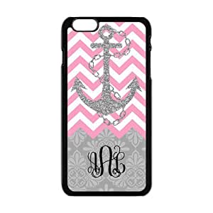 Hot Pink Chevron Zigzags Gray Anchor Gray Vintage European Pattern Damask Print Style Black Initials Or Name Personalized Custom Best Plastic Hard Case Cover For SamSung Galaxy S6 (Only for) ,Black or White for Choice