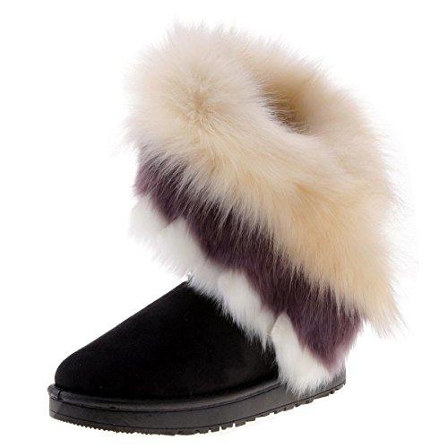 Chaussures En Femme Couleurs Fourrure Bottes Bord Classique Botte D'hiver De Noir Cooshional 3 pwaOqE6xgg
