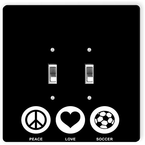 Rikki Knight 42776 Double Toggle Peace Love Soccer Black Color Design Light Switch Plate by Rikki Knight
