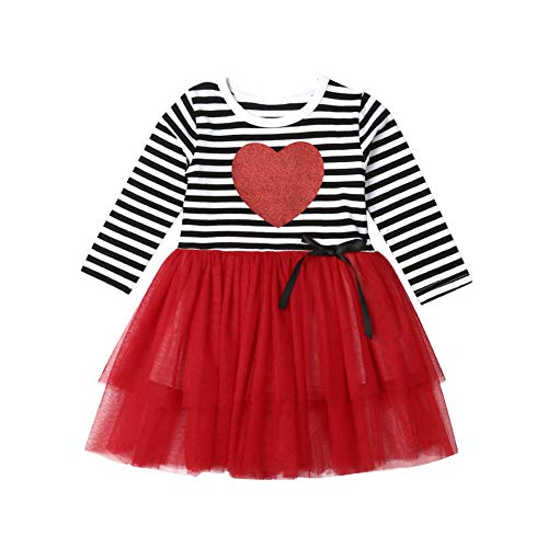 Toddler Girl Valentines Day Outfit Long Sleeve Love Heart Striped Tulle Dress Skirts Clothes (4T / 5T) -