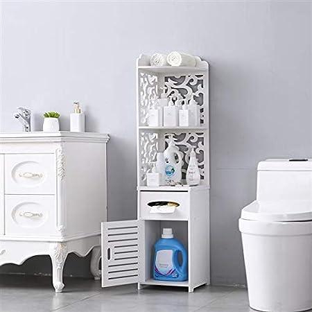 Pattern Carved Lernonl Bathroom Storage Cabinet Floor Cabinet Bathroom Furniture Shelf Organization Narrow Cabinet Free Standing Towel Storage Shelf for Paper Holder