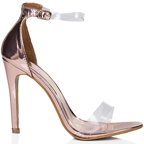 SPYLOVEBUY MISRI Womens Open Peep Toe Barely There High Heel Stiletto Sandals Pumps Shoes Gold Patent