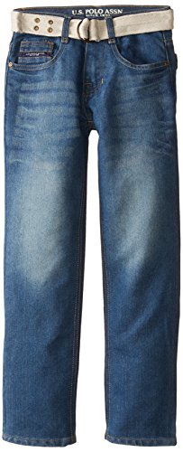 Belted Embossed Jeans (U.S. Polo Assn. Big Boys' Belted Flap Pocket Straight Leg Jeans, Medium Safety Blue,)