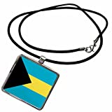 3dRose InspirationzStore Flags - Flag of the Bahamas islands. Bahamian blue yellow gold stripes black triangle country world souvenir - Necklace With Rectangle Pendant (ncl_158449_1)