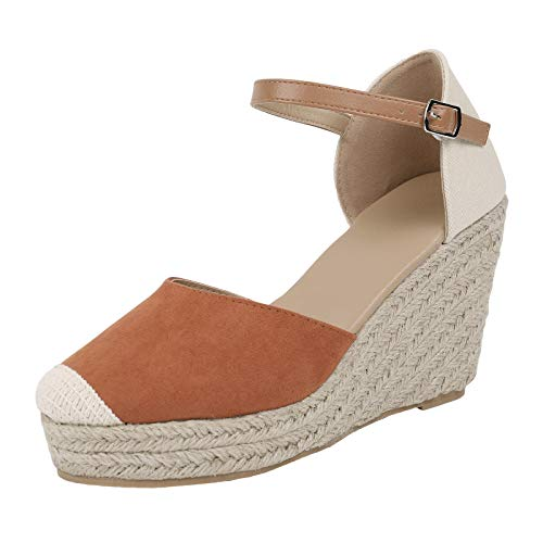 FISACE Womens Brown Summer Espadrille Heel Platform Wedge Sandals Ankle Buckle Strap Closed Toe Shoes -