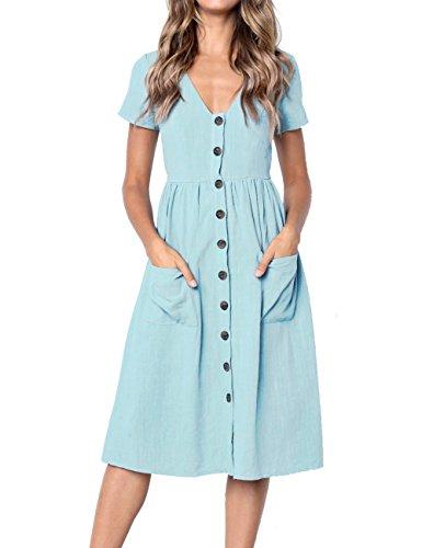 Sage Button MEROKEETY Swing Summer Neck Women's with Midi Dress Pockets Down V Short Sleeve UqHOUTw