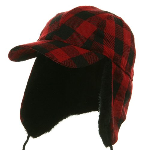 (Buffalo Plaid Hunter Cap - Red 2XL 3XL)