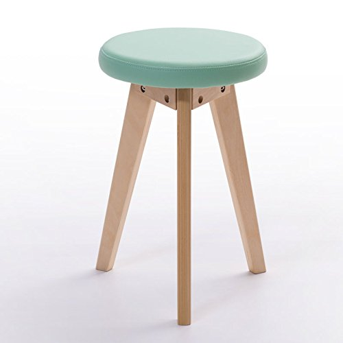 Fashion small bench / creative stool / simple stool / solid wood stool home / dining table stool ( Color : Green , Style : A ) by Xin-stool