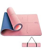 Sportout Yogamat, antislip, yogamat, gymnastiekmat, golfstructuur en optimale bekleding, fitnessmat met draagriem, sportmat voor alle soorten yoga, pilates, afmetingen 182 x 80 x 0,6 cm