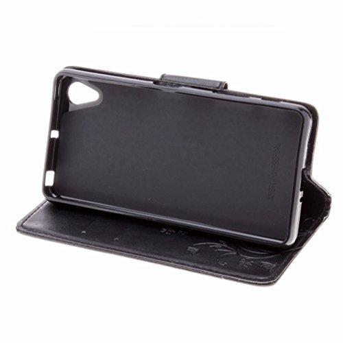 Custodia Sony Xperia X Performance Cover Case, Ougger Fiore Farfalla Portafoglio PU Pelle Magnetico Stand Morbido Silicone Flip Bumper Protettivo Gomma Shell Borsa Custodie con Slot per Schede (Nero)