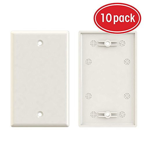 1-Gang Blank Wall Plate, GearIT 10-Pack Blank Wall Plates Outlet Covers - Standard Size Single-Gang Smooth Polished Finish, Ivory Standard Finish Single Hole