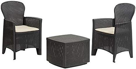 2 Poltrone e 1 Tavolino Contenitore da Esterno DMORA 8052773491754 Set da Giardino con Cuscini Antracite Made in Italy
