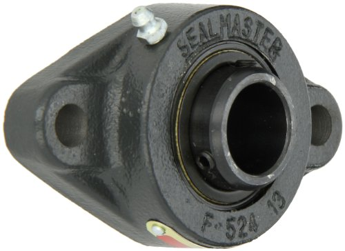 Sealmaster SFT-16 Standard Duty Flange Cartridge Unit, 2 Bolt, Regreasable, Felt Seals, Setscrew Locking Collar, Cast Iron Housing, 1