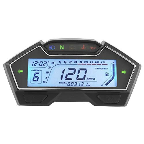 Motorcycle Speedometer, Universal 12V Motorcycle Speedometer Tachometer 13000RPM Dashboard Fuel Level Gauge Digital Odometer Meter for 1 to 4 Cylinder