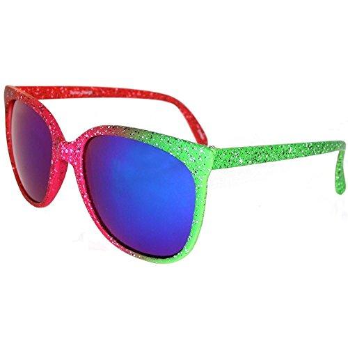 Retro Wayfarer Style Iridescent Neon Sunglasses, Mirrored - Retro Sunglasses Neon
