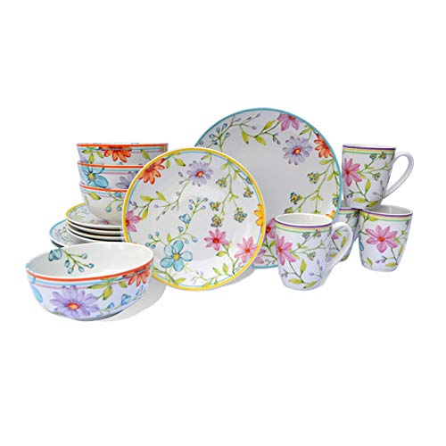 Euro Ceramica Charlotte Collection Stoneware, 16 Piece Dinnerware Set, Service for 4, Watercolor Floral Design, Multicolor Pink