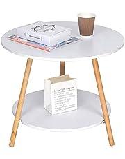 GT طبقة مزدوجة جولة الخشب نهاية الجدول الرخام مثل الجانب الجدول طاولة القهوة أريكة طاولة السرير الجدول لغرفة المعيشة مساحة صغيرة لغرفة المعيشة ، مع أرجل طاولة الخشب الصلب ، أبيض