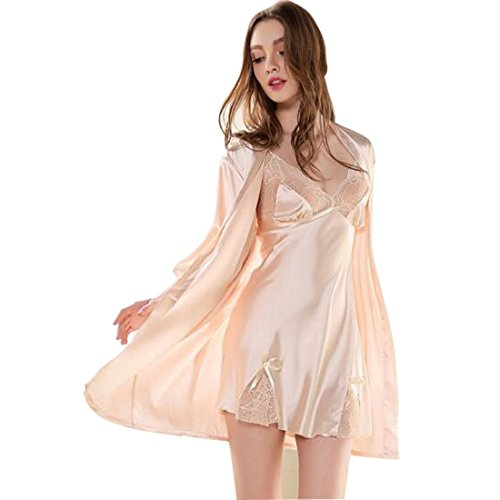 Glield Women's Silk Nightgown 2 Pieces Set Lace Satin Lingerie Robe Pajama SY01 (X-Large, - Attached Belt