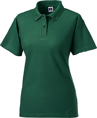 Russell Collection Mujer 65/35 Poly/Algodón Polo de manga corta para camisas Top negro