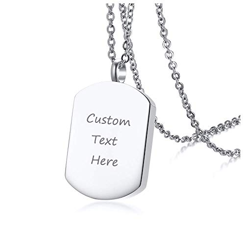 XUANPAI Free Custom Engraving Stainless Steel Keepsakes Cremation Urn Necklace for Ashes Dog Tag Pendant