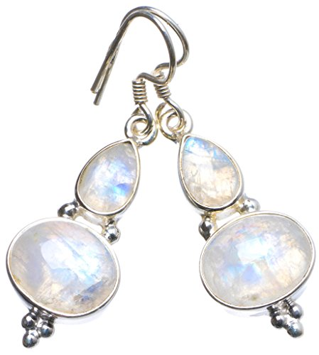 (Natural Rainbow Moonstone Handmade Unique 925 Sterling Silver Earrings 1.5